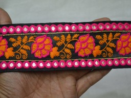 Black Embroidered designer Fabric Trims