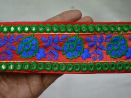 2.5 Inch wide Wholesale Embroidered Trim Sari Border Indian Laces And Embellishments Decorative Crafting Sewing Trim By 9 Yard Clothing Accessories