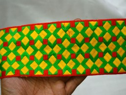 Red Yellow Green Embroidered designer Saree Border Crafting Trim By 9 Yard Decorative Sari Border Embroidered Trim Indian Laces fabric trims and embellishments Trimmings