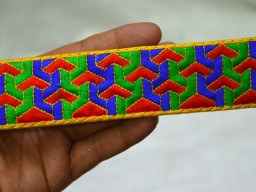 2 Inch wide Embroidered Trim Crafting Sewing Trim By The 9 Yard Decorative Indian Laces Red Green Blue Sari Border Fabric Ribbons And Embellishments Trimmings