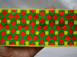 Wholesale Fabric Green Red Trims and Embellishments Indian Laces and Sari Border Decorative Sari Border Embroidered Sewing CraftingTrim By 9 Yard Clothing Accessories Trim