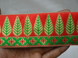 2.2 Inch wide Wholesale Sari Border Indian Jacquard Trim By 9 Yard Brocade Leaf Designer Ribbon Decorative Craft Ribbon Sewing Trimmings Jacquard Border