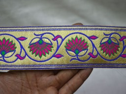 Brocade Jacquard Ribbon Floral Pattern in Magenta