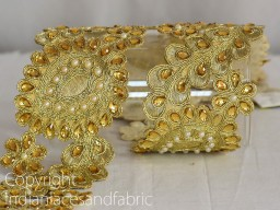 Beaded Trims Dull Gold Kundan Lace Stone Work Border
