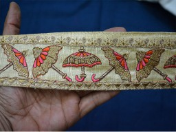Beige Decorative Indian Sari Border Wholesale Silk Trims