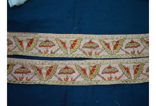 Orange and Gold Embroidered designer Trims on Baby Pink Silk Fabric