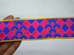 Embroidered Indian Laces and Trim Sari Border