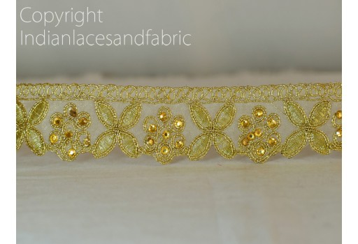 Decorative Gold Kundan Stone Work Sari Border Trim