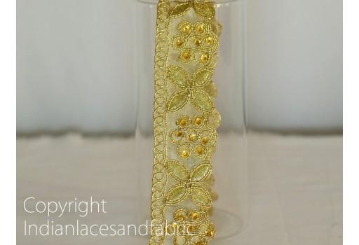 Decorative Gold Kundan Stone Work Sari Border Trim