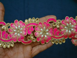 Fringe Hot Pink and Golden Kundan Lace