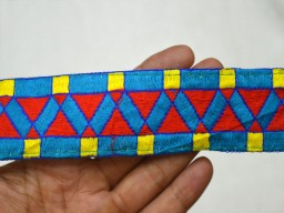 Blue red and yellow Embroidered designer Fabric Trims