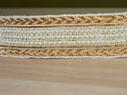 Gold Beaded Pearl Trim Decorative Sari border Designer Gota Pati Sewing Lace By the Yard