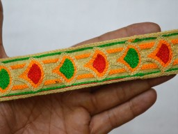 Wholesale Embroidered Sewing Trim Saree Border Trim By 9 Yard Indian Laces Decorative Fabric 1.3 Inch wide Trim and Embellishment Costume Trim