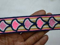 Embroidered designer Trims on Off White Fabric