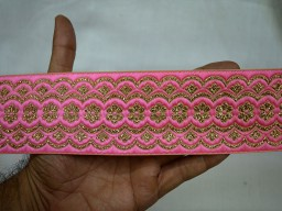 Beautiful lace pink and gold clothing brocade jacquard wedding decorative trim by 2 yard latest design table runner border sewing crafting fancy lace for festive mood outfit