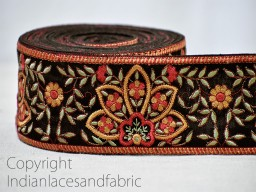Black Embroidered designer Trims on Black Silk Fabric
