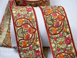 Craft Ribbon Trim By The Yard Wholesale Trimmings Sewing Trims Decorative Indian Laces Sari Border Fabric Trim Embroidered Ribbon