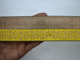 2.2 Inch wide Jacquard designer Lace and Trims in Yellow and Gold Wholesale Decorative Crafting Ribbon Jacquard Trim By 9 Yard Jacquard Sewing Trim