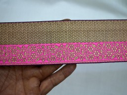 Beautiful Lace can be used for designing stylish blouses 2.2 inches wide Jacquard designer Lace and Trims in Pink Black and Gold Trim By 9 Yard Jacquard Sewing Trim