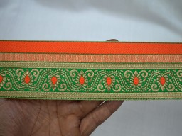 2.3 Inch wide Brocade Jacquard Ribbon Floral Pattern in Orange Green and Gold Sari Border sewing lace Trimmings Decorative Craft Ribbon Jacquard Trim By 8 Yard