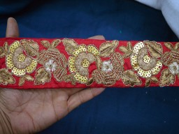 2.7 Inch wide Embroidery Crazy Quilt Trims Wholesale Maroon Silk Sari Border crafting Fabric Trims and embellishments Indian Trim By 9 Yard Golden Thread Embroidered Crazy Quilt Trims
