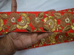 2.7 Inch wide Red and Gold Embroidered designer Fabric Trims Wholesale Red Indian Laces Trim By 9 Yard Silk Sari Border crafting trim Fabric Trims and embellishments Golden Embroidered Crazy Quilt Trim