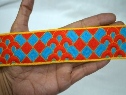 1.7 Inch wide Wholesale Decorative Crafting fabric trims and embellishments Embroidered Indian Laces and Trim Red Yellow and Blue Sari Border Sewing Trim By 9 Yard Trimmings