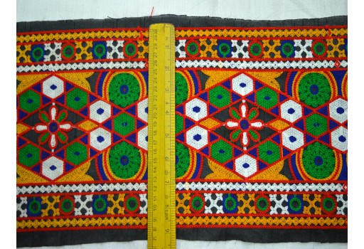 Decorative Fabric Trim Multicolor Embroidered Ribbon Trims Indian Sari Border