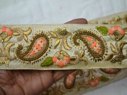 Green and Gold Embroidered designer Trims on Light Beige Pure Dupioni Silk
