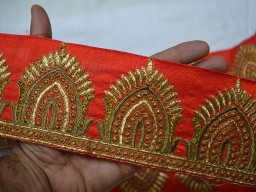 Indian Fabric Trims and embellishments Red Copper Gold Trim by the Yard