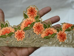 4.2 Inch wide Peach Embroidery Saree Border Decorative Indian Trim by 9 yard Crafting Ribbon Clothing Accessories Floral Sari Border Ribbon Fabric