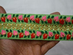 Wholesale Trims Silk Embroidered Ribbon Sewing Fabric Trim Craft Ribbon