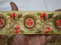 Beige Embroidered Decorative Trim By The Yard Indian Sari Border Craft Ribbon Wholesale Sewing Costume Fashion Tape Trimmings