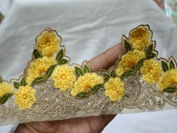 4.2 Inch wide Trim Floral Sari Border Yellow and Gold Embroidered Trim Decorative Ribbon trim by 9 yard Clothing Accessories