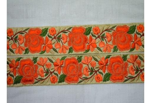 Beige Embroidered designer Trims on Beige Silk Fabric