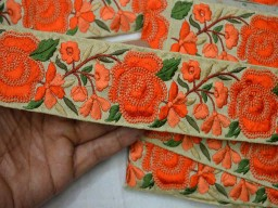 Beige Embroidered designer Trims on Beige Silk Fabric