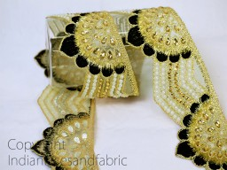 Traditional kundan indian beaded decorative costume metallic ribbon gold kundan trimmings embellished mirror work trim by the yard beautiful stunning crafting sewing accessorise