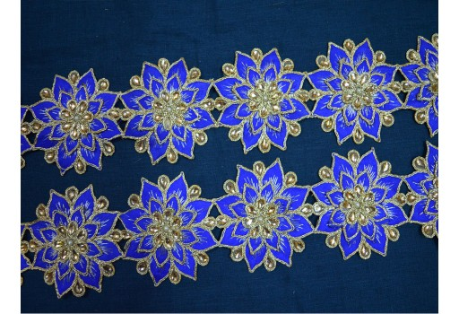 Blue Gold Kundan Lace Trimmings Decorative Ribbon Trim Costume Metallic Ribbon Beaded Trim