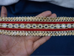 Maroon Trim by the Yard Indian Saree Border Mirror Trim Gold Lace Trim Indian Laces Wholesale Decorative Trim
