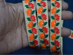 Orange Silk Embroidered Ribbon Sewing Fabric Trim Decorative Trim Indian Sari Border Trim