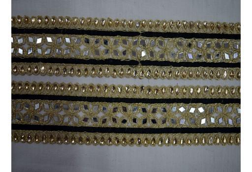 Black Trim by the Yard Indian Saree Border Mirror Trim Gold Lace Trim Indian Laces Wholesale Decorative Trim