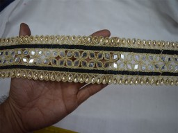 Black Trim by the Yard Indian Saree Border Mirror Trim Gold Lace Trim Indian Laces Wholesale Decorative Trim