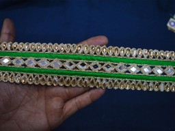 Green Gold Trim by the Yard Indian Saree Border Mirror Trim Gold Indian Trim Laces Wholesale Decorative Trim