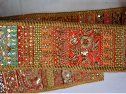 Indian sari border embroidered trim by the yard stunning floral pattern crafting supplies stone work borders patchwork fabric ribbon trimmings