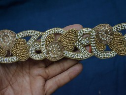 Exclusive Ct Beads And Metallic Thread Embroidered Trim
