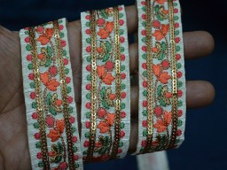 1.3 inch wide Wholesale Embroidered Ribbon Sewing Fabric Trim For Dresses Indian Sari Border By 9 Yard Silk Decorative Trim Craft Ribbon Fashion Trimmings Peach Red Green and Gold Embroidered designer Trims