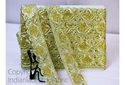 9 Yard Wholesale Gold Metallic Ribbon Christmas Decor Trimmings Indian  Beaded Kundan Lace Sewing Embellished Stone work Saree Border embellishment dresses tapes cushions table cover clothing accessories trim