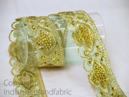 Decorative gold kundan lace costume beaded trim by 2 yard beautiful machine stitched border traditional glass stone work laces embellishments for clutches and purses