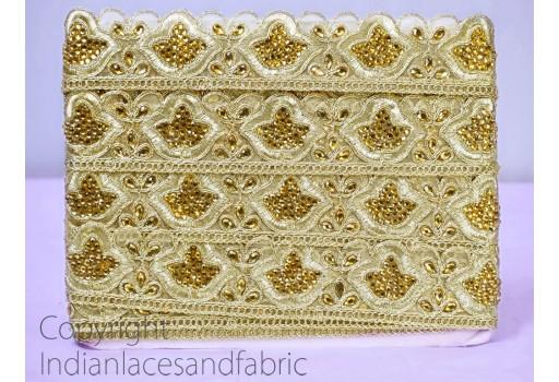 Beaded Trim Antique Gold Kundan Lace Ribbon