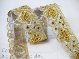 Beaded Trim Antique Gold Kundan Lace Ribbon